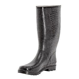 Women Rubber Tall RainBoots, # 1415, Croco